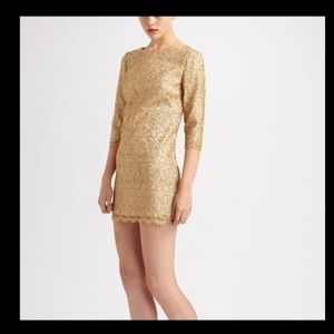 milly gold lace dress